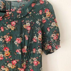 Cath Kidston Green Floral Dress w Peter Pan Collar